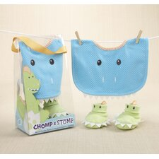 ''Chomp and Stomp'' Dinosaur Bib and Bootie Set