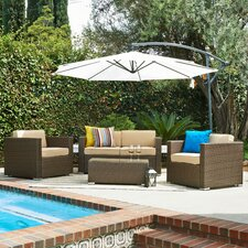 Cane Garden 5 Piece Seating Group with Beige Cushions