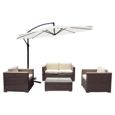 Cane Garden 5 Piece Deep Seating Group with Cushions