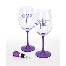 2 Piece Wine Glass Set with Bottle Stopper