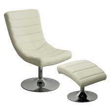 Swivel Chair and Footstool with Chrome Base