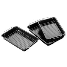 Non Stick Roasting Trays with Racks (Set of 3)