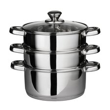 <strong>Premier Housewares</strong> Stainless Steel Three Tier Steamer with Lid