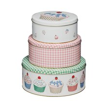 3 Piece Cupcake Storage Tin Set