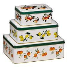 3 Piece Orchard Fruits Storage Tins Set