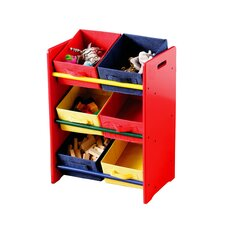 Three Tier Coloured Storage Bin Unit