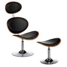 Chair and Footstool with Chrome Base