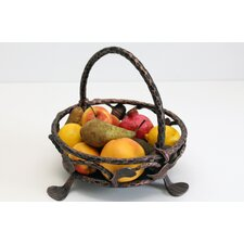 32cm Fruit Basket in Aged Silver