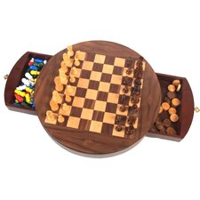 Walnut Round 3-in-1 Game Set