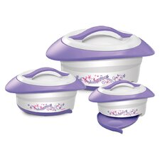Novel 3-Piece Oval Casserole Set with Spoon Rest