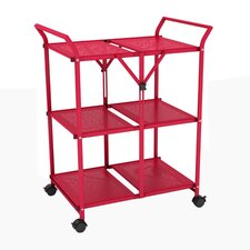 "33.75"" 3 Shelf Folding Cart with Handle"