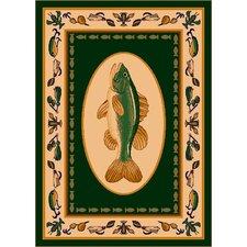 Fall Seasonal Green Fishtales Area Rug