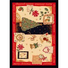 Winter Seasonal Holiday Yuletide Christmas Beige Area Rug
