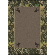 Mossy Oak Breakup Solid Center with Deer Head Novelty Rug