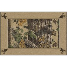 Realtree X-tra Solid Border Brown Area Rug