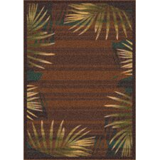 Modern Times Palm Brown Leather Area Rug