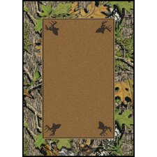 Mossy Oak Obsession Solid Center with Deer Head Area Rug