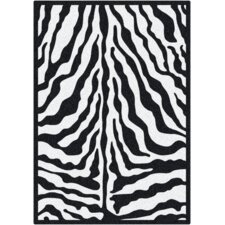 Black & White Zebra Glam Black Ink Area Rug