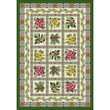 Winter Seasonal Yuletide Garden Green Area Rug