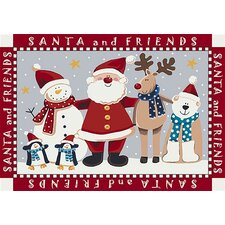 Winter Santa and Friends Christmas Red Area Rug