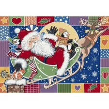 Winter Seasonal Patchwork Santa Area Rug