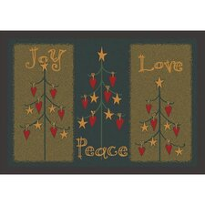 Winter Seasonal Folktree Winter Green Area Rug