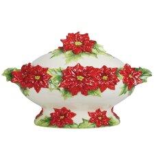 Poinsettia Santa Tureen