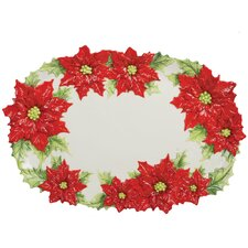 "Poinsettia Santa 17.25"" Oval Platter"