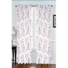 Sofia Flower Printed Voile Rod Pocket Curtain Panel