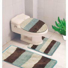 Denise 3 Piece Striped Bath Rug