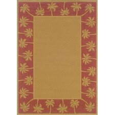 Lanai Beige/Red Palm Trees Outdoor Rug