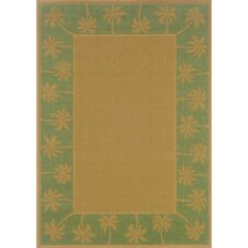 Lanai Beige/Green Palm Trees Outdoor Rug