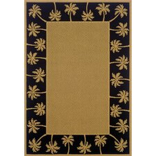 Lanai Beige/Black Palm Trees Outdoor Rug