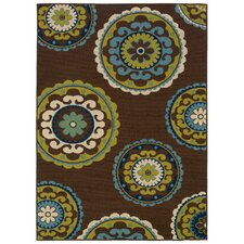 Caspian Brown / Green Indoor / Outdoor Area Rug