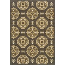 Bali Grey/Gold Floral Indoor/Outdoor Rug