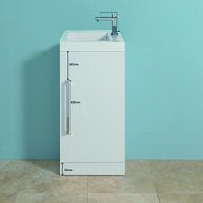 Jenta Wash Basin and Base Unit in White with Door