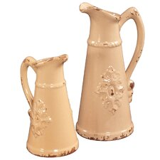 2 Piece Tall Ceramic Pitcher Set
