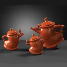 Teapots in Orange Glaze (Set of 3)