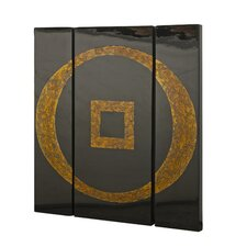 Wall Panel 3 Piece Graphic Art Set in Black and Gold