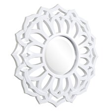 Casey Round Mirror in White