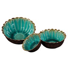 Ceramic Decorative Bowl in Deep Sea Blue with Mocha Accents (Set of 3)