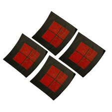 Curved 4 Piece Graphic Art Set in Red and Black
