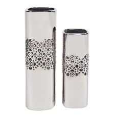 2 Piece Lattice Middle Tall Square Ceramic Vase Set