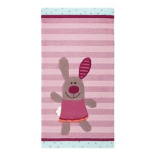 3 Happy Friends Stripes Light Pink Tufted Rug