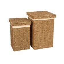 2 Piece Seagrass Laundry Basket Set