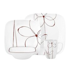 Square 16 Piece Vitrelle Glass Dinnerware Set