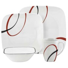 Square Fine Lines 16 Piece Vitrelle Glass Dinnerware Set