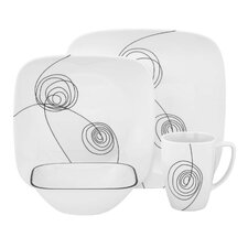 Square Scribble Lines 16 Piece Vitrelle Glass Dinnerware Set