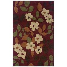 Pandora Burgundy Floral Rug