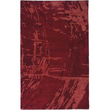 Highland Red Abstract Area Rug